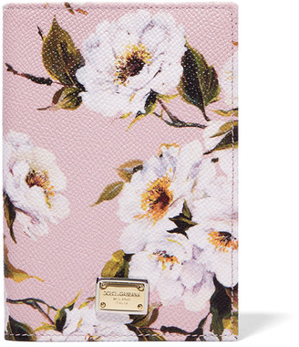 Dolce & Gabbana - Printed Textured-leather Passport Cover - Pastel pink $295 thestylecure.com