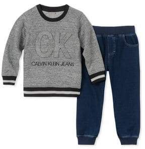 Calvin Klein Jeans Little Boy's Two-Piece Sweater and Denim Joggers Set