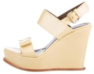 Marni Patent Leather Ankle Strap Wedges