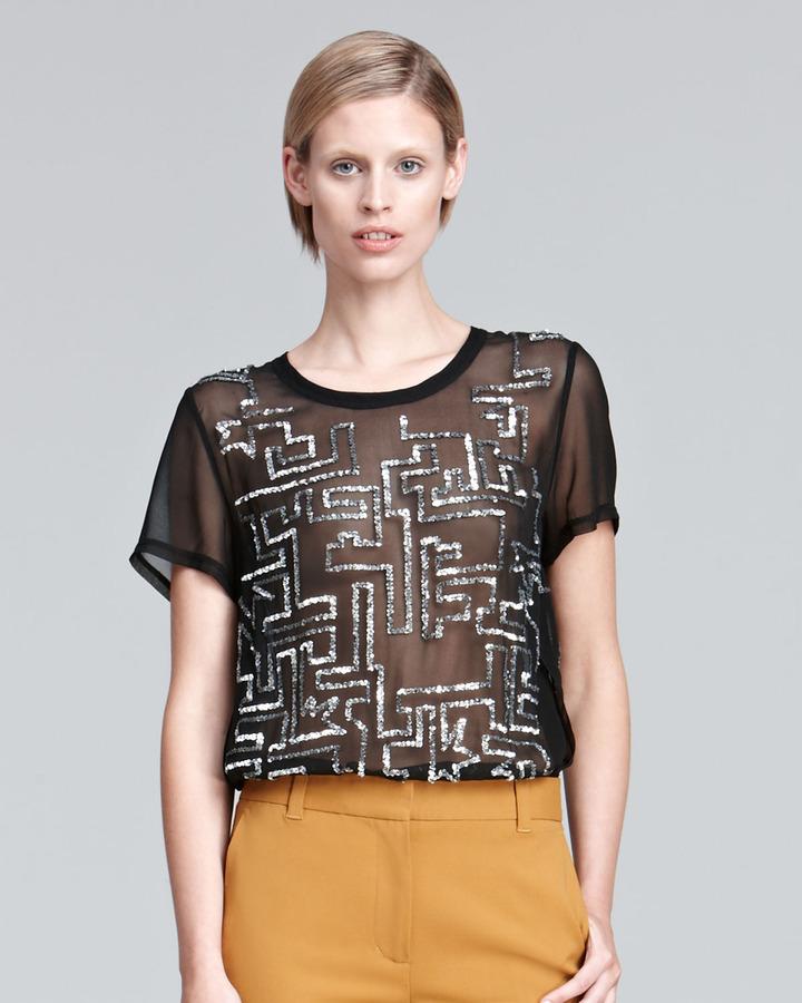 3.1 Phillip Lim Short-Sleeve Sequined Silk Top