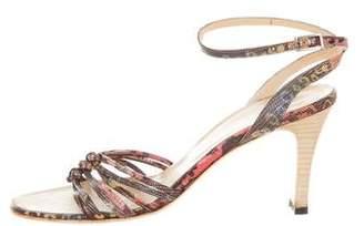 Bettye Muller Embossed Ankle-Strap Sandals