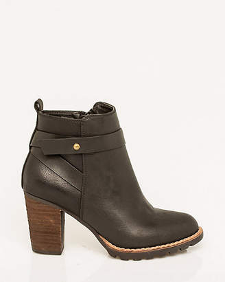 Le Château Leather-Like Round Toe Bootie