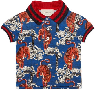 Baby cotton polo with Gucci Bengal print $210 thestylecure.com