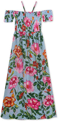 Rare Editions Big Girls 2-Pc. Floral-Print Maxi Dress & Necklace Set