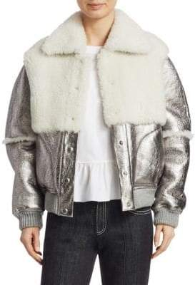 See by Chloe Metallic Shearling Bomber