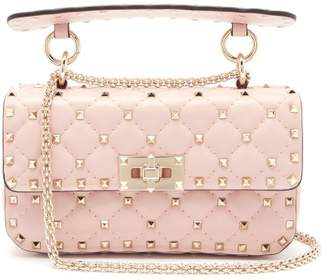 Valentino Rockstud Spike Quilted Leather Bag - Womens - Light Pink