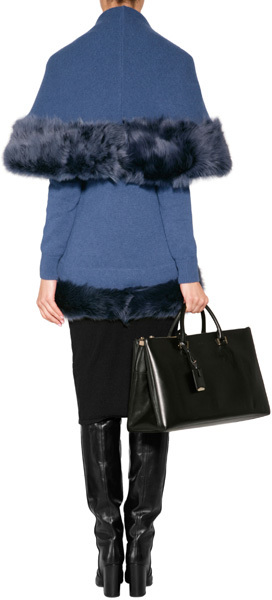 Ralph Lauren Cashmere Shawl Collar Cardigan in Heather Denim Blue