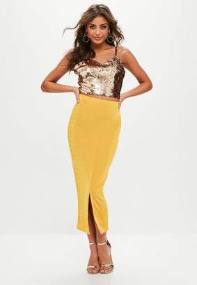 Missguided Tall Yellow Slinky Split Front Mid Skirt