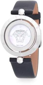 Versace Logo Stainless Steel Leather Strap Watch