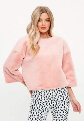 Missguided Pink Raw Edge All Over Fur Sweatshirt
