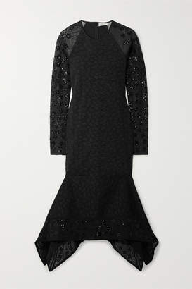 Opening Ceremony Stretch-cloqué And Sequined Tulle Midi Dress - Black