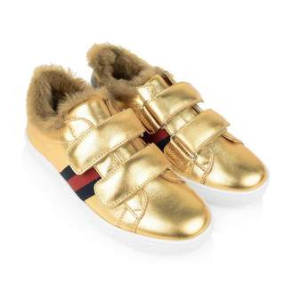Gucci GUCCIGold Leather Trainers With Faux Fur