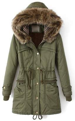 Fashion Showcase Women Thicken Fleece Fur Warm Winter Trench Coat Zip Hoodied Down Jacket (L, )