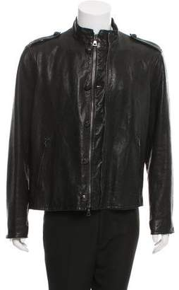 John Varvatos Leather Zip-Front Jacket