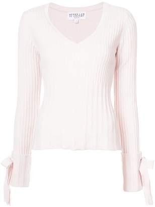 Derek Lam 10 Crosby V-Neck Sweater with Tie Sleeve Detail