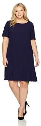 Tahari by Arthur S. Levine Women's Plus Size Short Sleeve Drop Waist Dress with Flounce Skirt