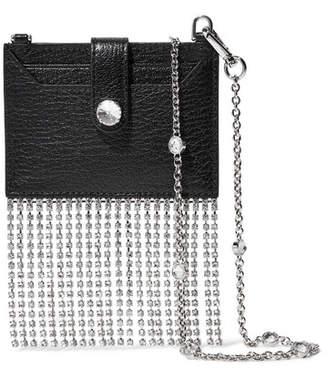 b5fe8b02c20 Miu Miu Madras Crystal-embellished Textured-leather Shoulder Bag - Black