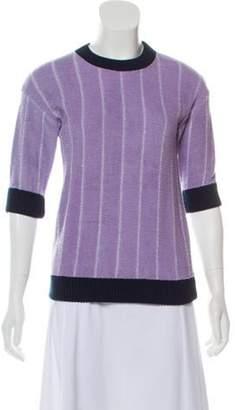 ARTHUR ARBESSER Striped Knit Sweater Purple Striped Knit Sweater