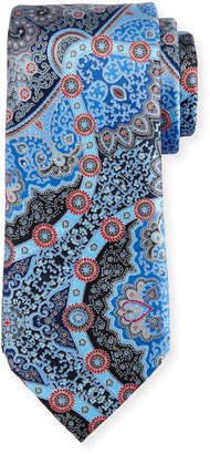 Ermenegildo Zegna Quindici Large Medallion Silk Tie, Blue