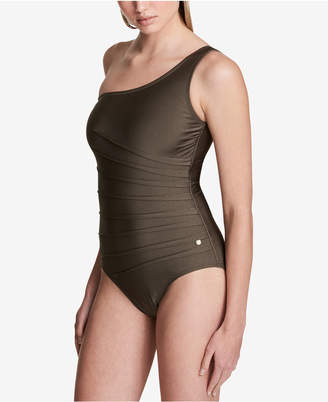 Calvin Klein One-Shoulder Starburst One-Piece Swimsuit, Created for Macy's Style Women's Swimsuit