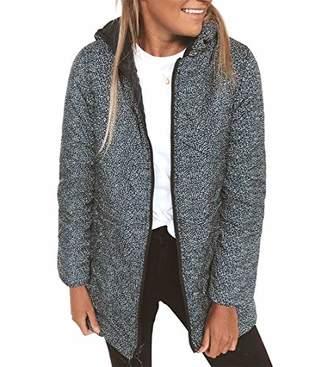 KIRUNDO 2019 Winter Women's Lightweight Jacket Water-Resistant Puffer Coat Zipped Up Leopard Outwear with Pockets (