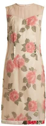 Maison Margiela Raw-edge rose-print organza dress