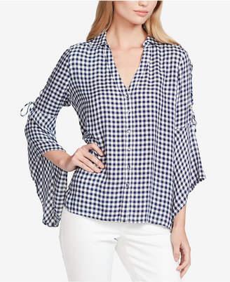 Jessica Simpson Juniors' Michi Gingham Lace-Up Shirt