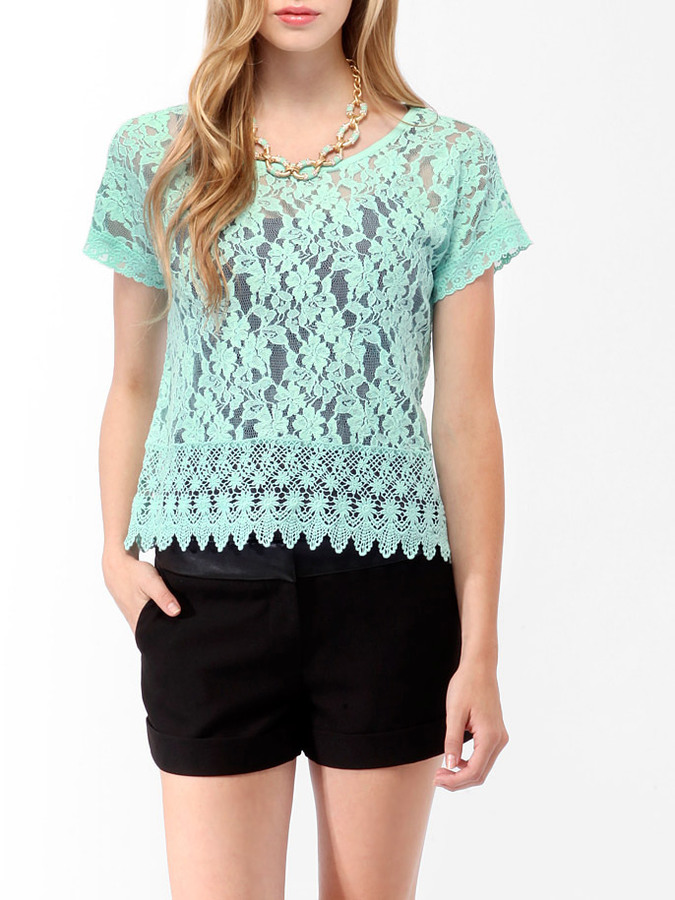 Forever 21 Crochet Trim Lace Top