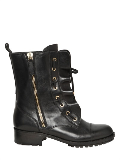 Valentino 40mm Ruffled Leather Boots