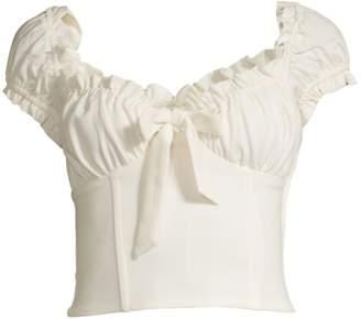 I.AM.GIA Naomi Ruffled Tie-Front Crop Top