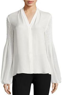 Elie Tahari Smocked Georgette Silk Blouse $298 thestylecure.com