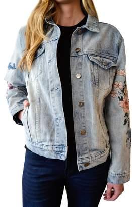 MinkPink Wildflower Denim Jacket
