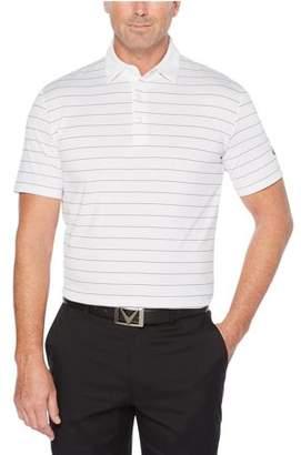 Callaway Ventilated Striped Polo Bright White/Black Logo XL