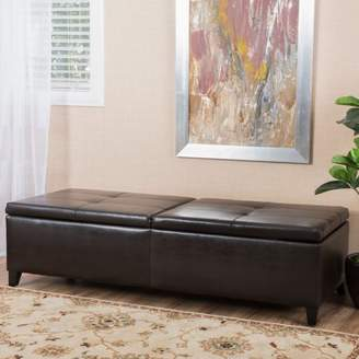 Logan Noble House Faux Leather Storage Ottoman, Large, Brown