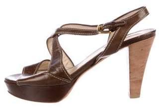 Prada Sport Leather Platform Sandals