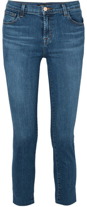 J Brand Ruby Cropped High-rise Slim-leg Jeans - Mid denim