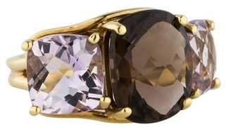 18K Gold Rose and Smoky Quartz Ring