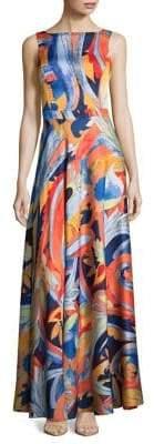Nicole Miller New York Sleeveless Neon Printed Gown