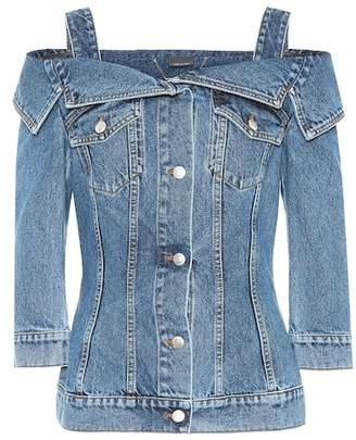 Alexander McQueen Off-the-shoulder denim jacket
