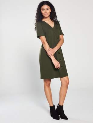Wallis V Neck Button Ponte Dress - Green