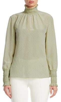 Akris Punto Polka Dot Silk Mock-Neck Blouse