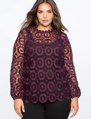 Studio Long Sleeve Crochet Lace Blouse