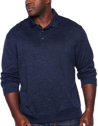 Van Heusen Flex Banded Bottom Easy Care Long Sleeve Tonal Melange Polo Shirt - Big and Tall