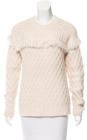 Tory Burch Tory Burch Fringe-Trimmed Crew Neck Sweater