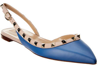 Valentino Rockstud Leather Slingback Ballet Flat