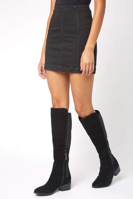 Free People Modern Femme Black Denim Skirt