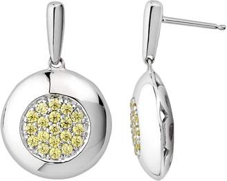 Swarovski Lotopia Sterling Silver Disc Drop Earrings - Made with Cubic Zirconia