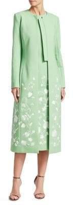 Oscar de la Renta Threadwork Floral Embroidered Coat