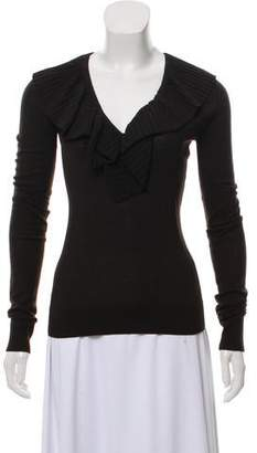 Givenchy Ruffle-Trimmed V-Neck Sweater