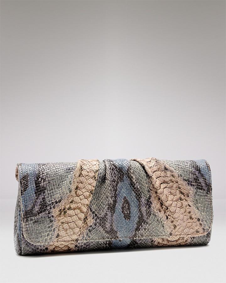 Lauren Merkin Caroline Python-Embossed Leather Clutch